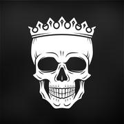 Skull King Crown design element. Vintage Royal illustration in medieval style - stock illustration