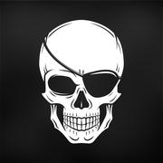 Jolly Roger with eyepatch logo template. Evil skull vector. Dark t-shirt design Stock Illustration