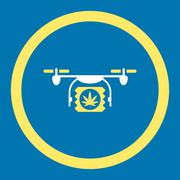 Drugs Drone Shipment Rounded Vector Icon Stock Illustration