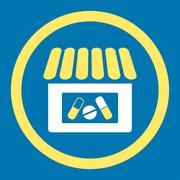 Drugstore Rounded Vector Icon - stock illustration