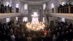 Muslim believers praying in the mosque (Editorial) Stock Footage