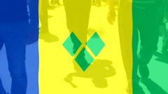 Saint Vicent and the Grenadines  flag and People Stock Footage