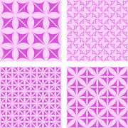 Magenta seamless pattern background set Stock Illustration