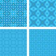 Blue mosaic floor design set - stock illustration