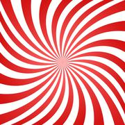 Red white summer spiral ray background - stock illustration