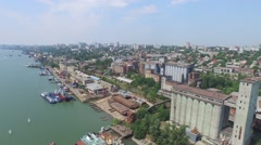Flight over river Don on Rostov-on-Don Stock Footage