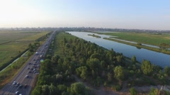 Flight over road and lakes in Rostov-on-Don - stock footage