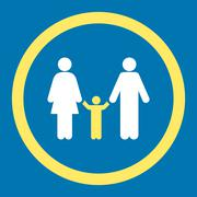 Parents And Child Rounded Vector Icon - stock illustration