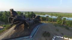 Flight around memorial in Rostov-on-Don Stock Footage