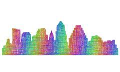 Austin skyline silhouette - multicolor line art Piirros