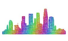 Los Angeles skyline silhouette - multicolor line art - stock illustration