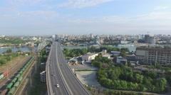 Flight over bridge in Rostov-on-Don Stock Footage