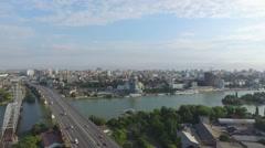 High flight over bridge in Rostov-on-Don - stock footage