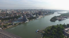 High flight over river Don and bridge in Rostov-on-Don Stock Footage
