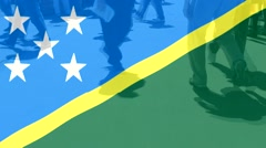 Soloman Islands  flag and People Stock Footage