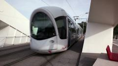Output of the tramway on the bridge Raymond Barre Stock Footage