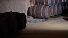 Barrels in Wine Cellar-Bordeaux Vineyard Stock Footage