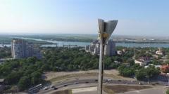Flight near memorial in Rostov-on-Don Stock Footage