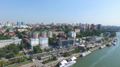 Flight over embankment in Rostov-on-Don - stock footage
