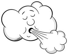 cartoon cloud blows wind - stock illustration