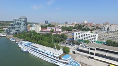 Flight over embankment and port in Rostov-on-Don Stock Footage