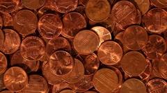 Loose Change - Pennies Stock Footage