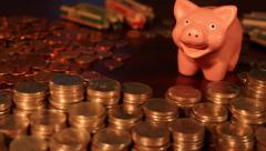 Loose Change - Stacks of Change - Piggy Savings Stock Footage