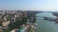 Stock Video Footage of High flight over embankment and port in Rostov-on-Don