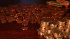 Loose Change - Stacks of Change - Piggy Savings Stock Footage Stock Footage