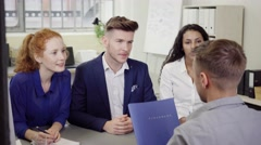 Businessmen Listening to Leader During a Meeting Stock Footage