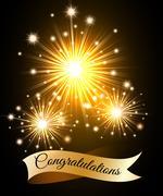 Congratulations Fireworks - stock illustration