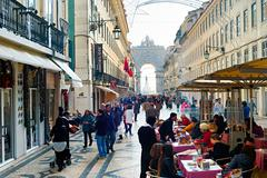 Rua Augusta square, Lisbon Stock Photos