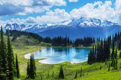 Image lake and Glacier Peak in Washington, USA Stock Photos
