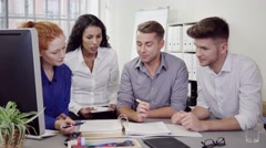 Business People Discussing Something on Documents Stock Footage