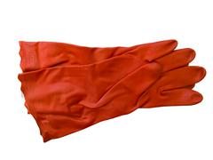 Red rubber gloves - stock photo