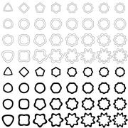 Black curved polygon shape collection - stock illustration