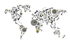 Stock Illustration of Draw a map of the world made up of spare parts