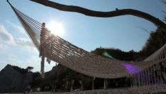 Hammock on the beach, Panorama view Stock Footage