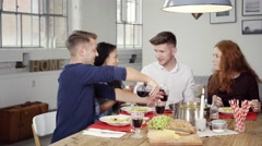 Young Friends Having a Thanks Giving Dinner - stock footage