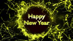 Happy New Year, Gold Text in Particles Ring, 4k Stock Footage