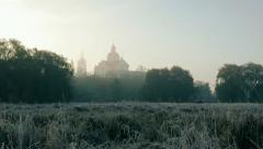 Rime, first frost, plants in cold weather. Romantic Сastle fortress in fog Stock Footage