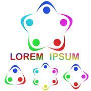Multicolor unity logo icon design set - stock illustration