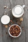 Granola cereal and milk, top view Stock Photos