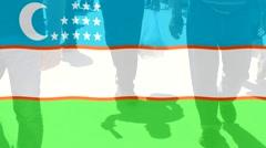 Stock Video Footage of Uzbekistan flag and People