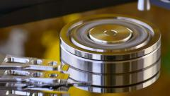 Inside of high quality hard disk drive. Macro Stock Footage