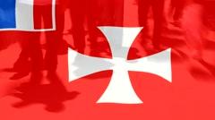 Wallis and Futuna  flag and People Stock Footage