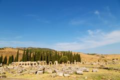 Anatolia pamukkale       and the roman temple Stock Photos
