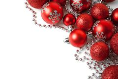Christmas border with red ornament - stock photo