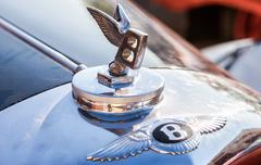 "Stock Photo of Bentley logo ""Flying B"" on a Bentley R Type, 1953 year"