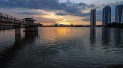 Beautiful Sunset, Putrajaya Dam, Malaysia Stock Footage